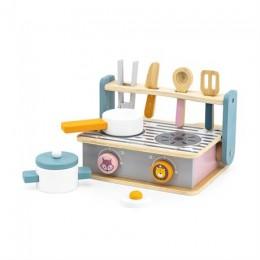 Детская плита Viga Toys PolarB с посудой и грилем, складная (44032)
