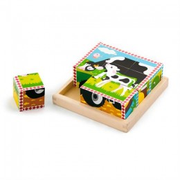 Деревянные кубики-пазл Viga Toys Ферма (59789)