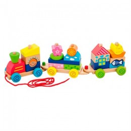 Деревянная каталка-поезд Viga Toys Красочные кубики (50089)