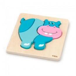 Деревянный мини-пазл Viga Toys Бегемотик (59932)
