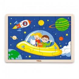 Деревянный пазл Viga Toys В космосе, 16 эл. (51457)