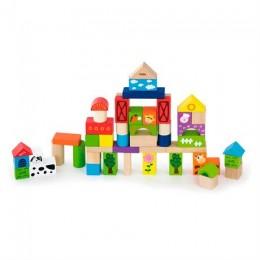 Деревянные кубики Viga Toys Ферма, 50 шт., 3 см (50285)