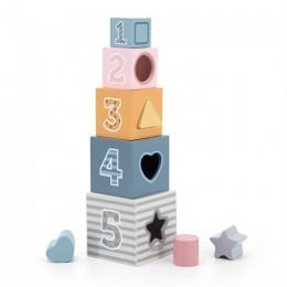 Деревянные кубики-пирамидка Viga Toys PolarB Сортируем и складываем (44016)