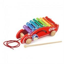 Деревянный ксилофон-каталка Viga Toys Спорткар (50341)