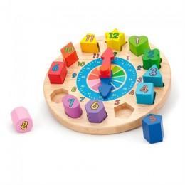 Деревянный пазл-сортер Viga Toys Часы (59235)