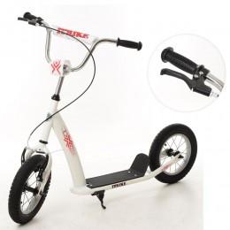 *Самокат для детей и взрослыхScooter с ручным тормозом (БЕЛЫЙ) арт. 2-047-W