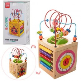 """Деревянная игрушка """"Логический куб"""" (лабиринт, бизиборд) арт. 95003"""