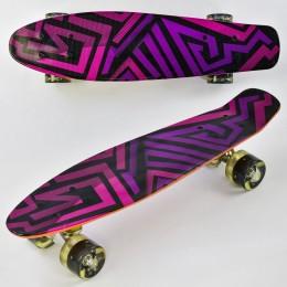 Скейт (пенни борд) Penny board со светящимися колесами АБСТРАКЦИЯ арт. 5490/99160
