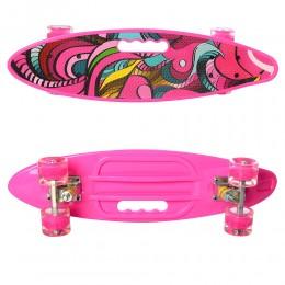 Скейт (пенни борд) Penny board (колеса светятся) РОЗОВЫЙ арт. 0461-2