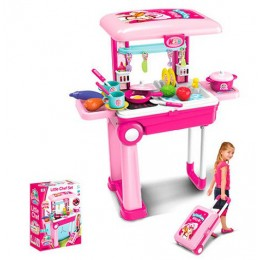 Детская кухня на стойке - чемодане РОЗОВАЯ арт. 008-921