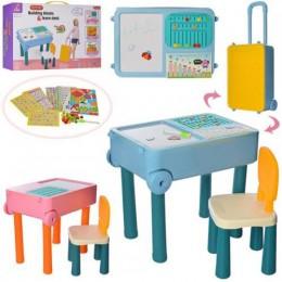 Развивающий столик (для сборки конструктора, рисования, песочница) со стульчиком РОЗОВЫЙ арт. 839-51A-52A