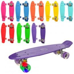Скейт (пенни борд) Penny board (колеса светятся) ЖЕЛТЫЙ  арт. 0848-5