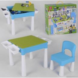 """Столик со стульчиком 3в1 (для конструктора, рисования, песочница) """"Полицейский участок"""" арт. 371"""