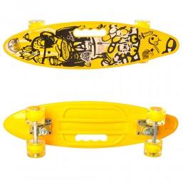 Скейт (пенни борд) Penny board (колеса светятся) ЖЕЛТЫЙ арт. 0461-2