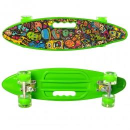 Скейт (пенни борд) Penny board (колеса светятся) ЗЕЛЕНЫЙ арт. 0461-2