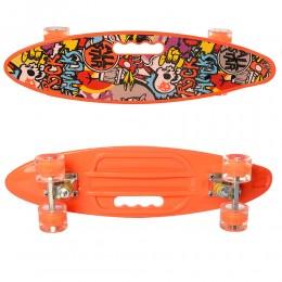 Скейт (пенни борд) Penny board (колеса светятся) ОРАНЖЕВЫЙ арт. 0461-2