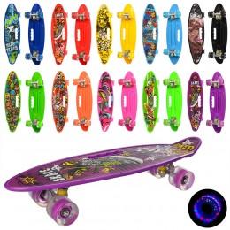 Скейт (пенни борд) Penny board (колеса светятся) САЛАТОВЫЙ арт. 0461-2