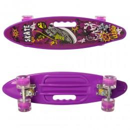 Скейт (пенни борд) Penny board (колеса светятся) ФИОЛЕТОВЫЙ арт. 0461-2