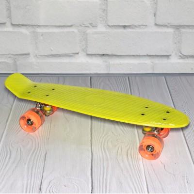 *Скейт (пенни борд) Penny board со светящимися колесами ЖЕЛТЫЙ и ОРАНЖЕВЫЕ колеса арт. 0355