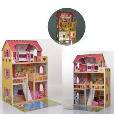 *Деревянный домик с мебелью для кукол со светом (аналог KidKraft) арт. 2671