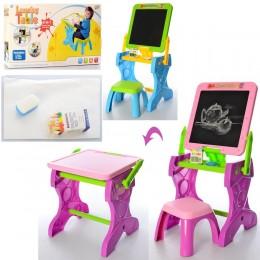 Мольберт - столик со стульчиком 2 в 1 ГОЛУБОЙ арт. 883-884