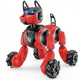 Собака интерактивная на радиоуправлении (управляется пультом и браслетом) КРАСНАЯ арт. 666-800А