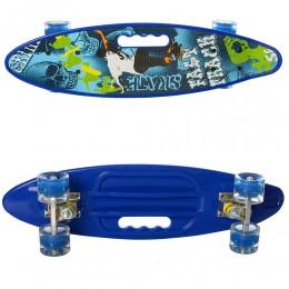 Скейт (пенни борд) Penny board (колеса светятся) СИНИЙ арт. 0461-2