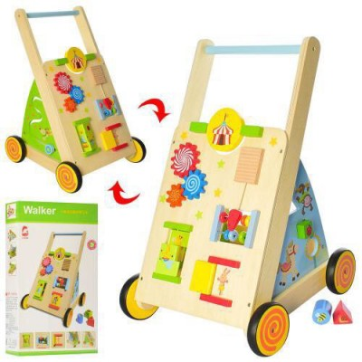 Деревянная каталка - ходунки (бизиборд Busyboard) арт. 2138