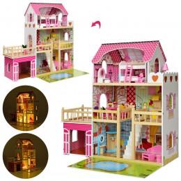 Деревянный домик с мебелью для кукол со светом (аналог KidKraft) арт. 2672