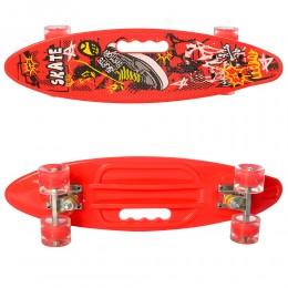 Скейт (пенни борд) Penny board (колеса светятся) КРАСНЫЙ арт. 0461-2