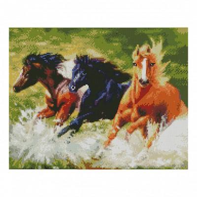 Алмазная мозаика. Strateg FA11098 «Дикие лошади» 40х50 см